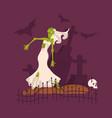 scary dead bride wearing wedding dress vector image vector image