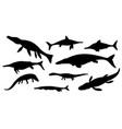 sea dinosaur jurassic animal black silhouettes vector image vector image