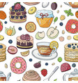 seamles pattern with different breakfast elements vector image vector image