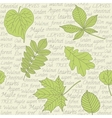 Seamless pattern with leaves on text background vector image vector image