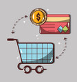 shopping card with credit card and coin vector image vector image