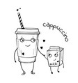 sketch of cappuccino and milk vector image vector image