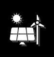solar panel and windmills for energy icon flat vector image vector image
