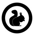 squirrel black icon in circle vector image vector image