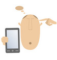 thinking head hand and smart phone vector image