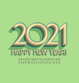 trendy greeting card happy new year 2021 alphabet vector image
