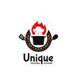 unique cultural kitchen logo icon badge with hot vector image vector image