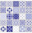 veector navy blue tiles pattern azulejo design vector image vector image