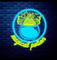 vintage emblem glowing neon sign vector image vector image