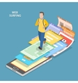 Web surfing isometric flat concept vector image vector image