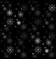 winter seamless snowflake pattern on black vector image vector image