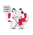 woman visiting beauty salon master doing manicure vector image vector image