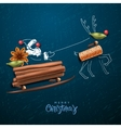 Santa Claus flying in a sleigh vector image