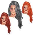 Beautiful girls with long haircuts vector image