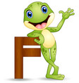 alphabet f with frog cartoon vector image