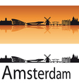 Amsterdam skyline in orange background vector | Price: 1 Credit (USD $1)