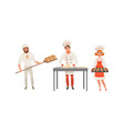 bakers characters set cheerful people in uniform vector image vector image