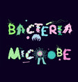 biological bacteria lettering vector image vector image