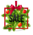 Black winter sale sign with red ribbon green fir vector image