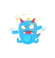 Blue Monster With Horns And Spiky Tail Stars vector image vector image