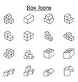 box icons in thin line style vector image vector image