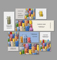 business cards design funny cats family vector image vector image