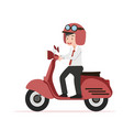 businessman riding red motorcycle flat design vector image vector image
