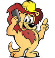 cartoon a lion worker talk business vector image vector image