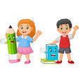 cartoon kids with book and pencil mascots vector image