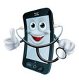 cartoon phone character holding a stethoscope vector image vector image