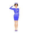 cartoon stewardess girl in uniform vector image vector image