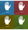 Color set Stop hand Flat modern web button with vector image