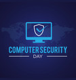 computer security day letter emblem in flat style vector image
