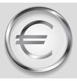 Concept metallic euro symbol logo button vector image vector image