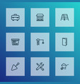 construction outline icons set collection of door vector image vector image