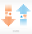 Dots arrows orange and blue color vector image