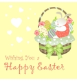 Easter Bunny Sitting in an Basket vector image vector image