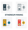 ethereum mining icon set four elements in vector image vector image