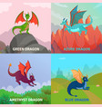 fantasy dragons design concept vector image