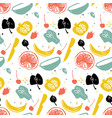 fruit pattern with banana citrus and pomegranate vector image