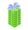 green xmas gift box icon isometric style vector image vector image