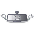 grinning rear view mirror in cartoon shape vector image