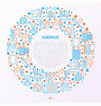 handmade concept in circle with thin line icons vector image