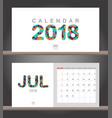 july 2018 calendar desk calendar modern design vector image vector image