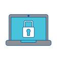 laptop computer screen security padlock protection vector image vector image