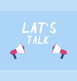 let s talk two megaphone in flat design vector image vector image