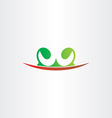 letter w plant green red icon logo vector image
