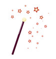 magic wand with small stars attribute magician vector image vector image
