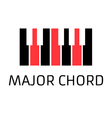 Minimalistic piano keyboard logo with major chord vector image