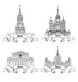 moscow city attraction set landmarks bolshoy vector image